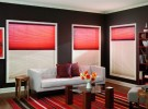 red sitting room shades